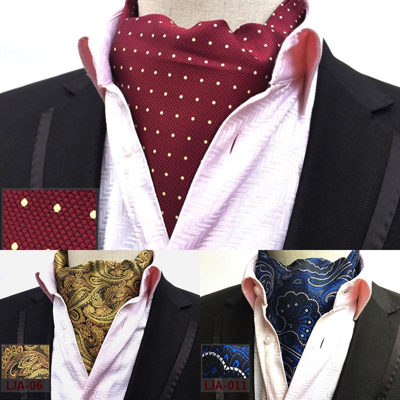 Ricnais New Quality Men's Ascot Neck Tie Vintage Paisley Floral Jacquard Silk Necktie Cravat Tie Scrunch Self British Style