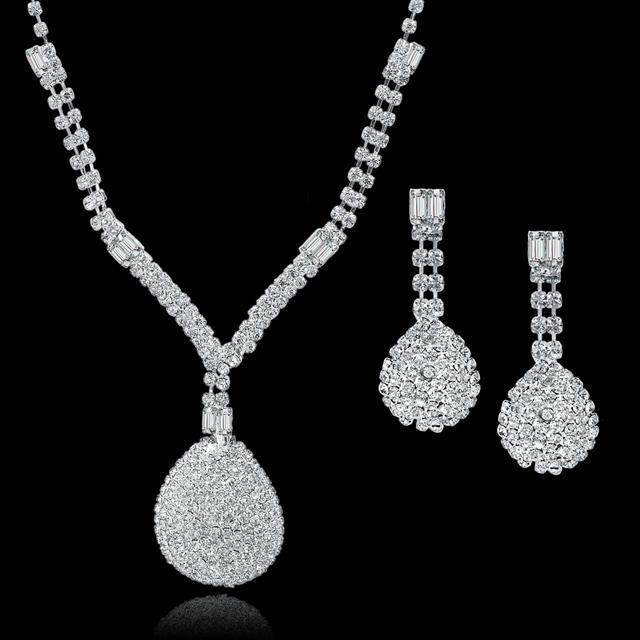 Women Austrian Crystal Wedding Bridal Long Tassel Statement Necklace Earrings Jewellery Set