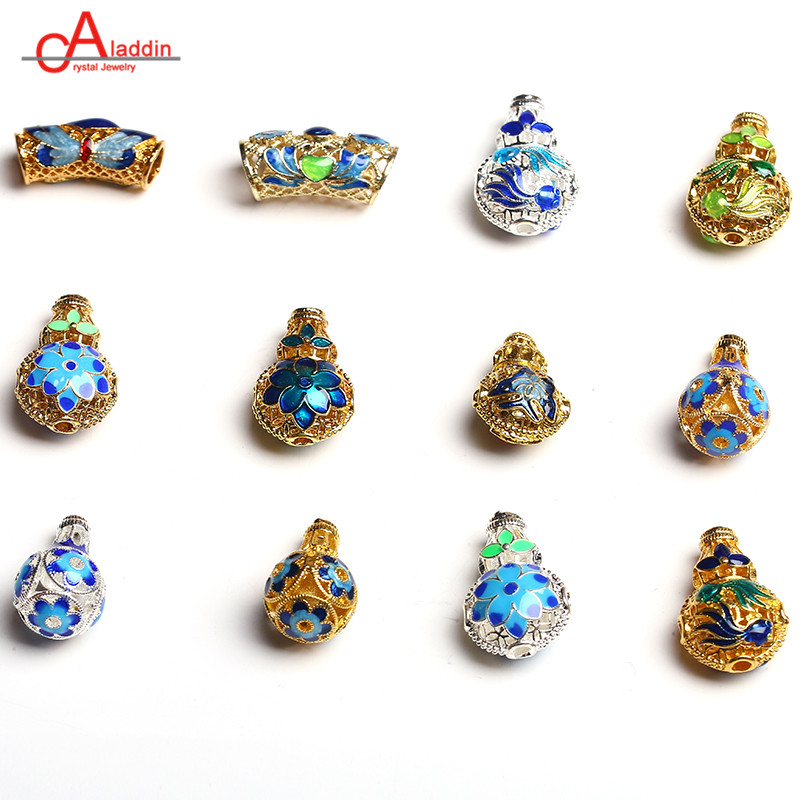 Aladdin Cloisonne Connectors Bead Caps Enamel 3 Holes Beads Diy Bracelet Earrings Accessorie Make Jewelry Finding 0469-0480