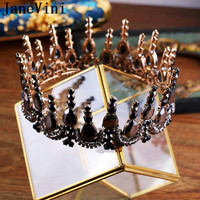 JaneVini Gothic Round Tiaras and Crowns Fashion Jewelry Crystal Bridal Hair Accessories Wedding Headpiece Pageant Party Headband