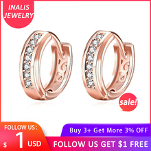 INALIS Round Inlaid Zircon Gold Color And Rose Copper Stud Earrings For Women Female Silver color Tear Drops Earrring
