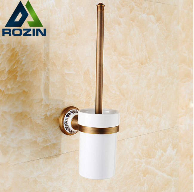 Antique Brass Toilet Brush Holder Set Cup + Holder + Brush Wall Mounted newly wall mounted crystal style holder white ceramic cup white toilet brush gold finish
