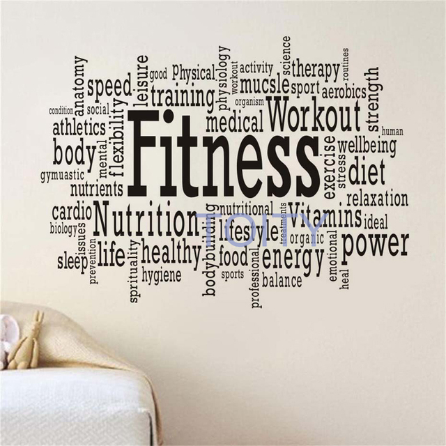 252ff24a3ab3 Sport Gym Words Fitness Motivation Wall Decals Vinyl Art Stickers Teen Room  Club Home Interior Decor Removable Mural H57cmxW76cm