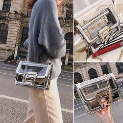 Прозрачная модная женская сумка на плечо, повседневная женская маленькая квадратная сумка, трендовая сумка с клапаном, женские сумки через ...