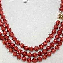 Горячие подлинная натурального 3row красный губка коралловое ожерелье