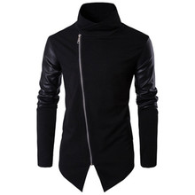 Boutique European code mens 2019 spring new cotton stand collar slim knit Sweatshirts leather