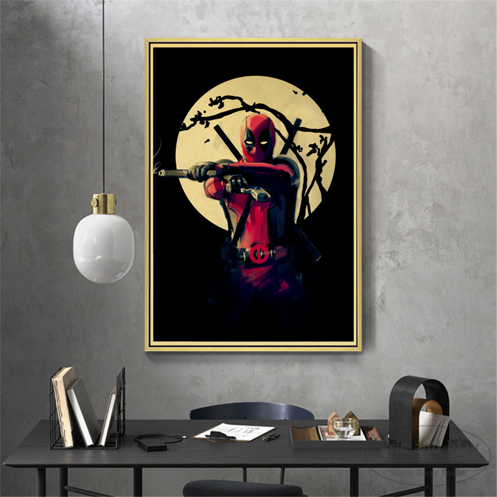 Deadpool Vintage Marvel Superhero Posters And Prints Canvas Art Decorative Wall Pictures For Living Room Home Decor Painting in Painting Calligraphy from Home Garden