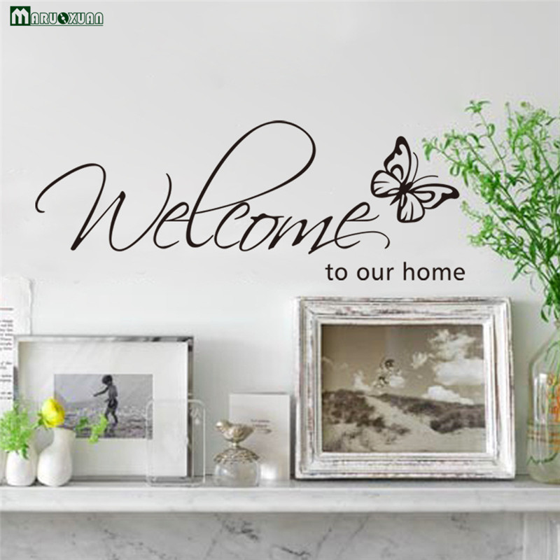 Online Shop English Welcome Home Butterfly Bedroom Wall Stickers - Custom vinyl wall decals quotes how to remove