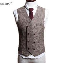 Для мужчин Вязаные Жилеты для женщин Британский Стиль Тонкий шерстяной ткани двубортный куртка без рукавов жилет мужской костюм жилет