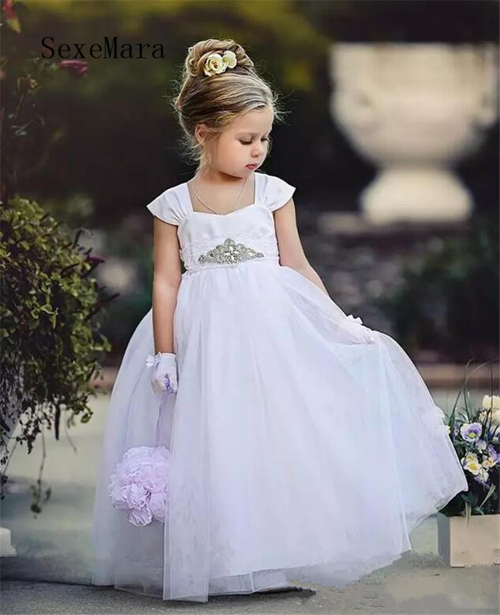 White Flower Girls Dresses for Wedding Cap Sleeve Beaded Sash Lace Girls Communion Gown Birthday Pageant Dress