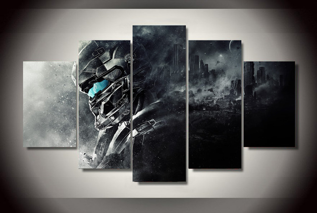 Canvas Wall Art Pictures For Living Room Home Decor 5 Pieces Halo 5 Guardians Video Game Paintings HD Prints Poster Framework