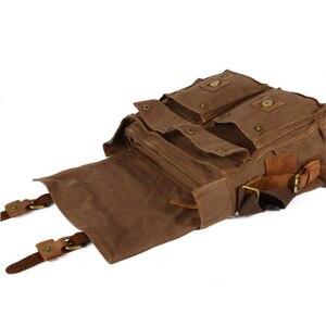 Image 4 - 럭셔리 카우보이 정품 카메라 가방 oilskin 가죽 단일 방수 어깨 가방 캔버스 가방 내부 탱크 dslr 카메라 메신저 가방