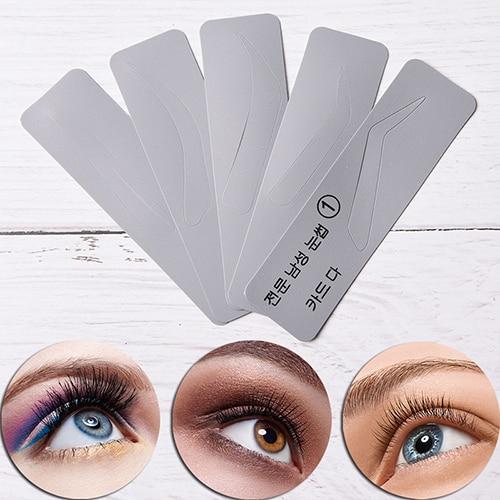 5pcs/set Men Reusable Eyebrow Stencil Set Eye Brow DIY Drawing Guide Styling Shaping Grooming Template Card Makeup Beauty Kit 2