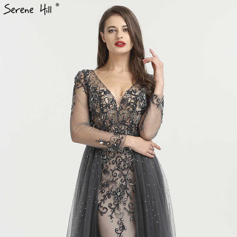 sexy Long Sleeve grey Crystal Mermaid Formal Evening Party Prom Gown Dress Lebanon Dresses Abendkleider BLA6571