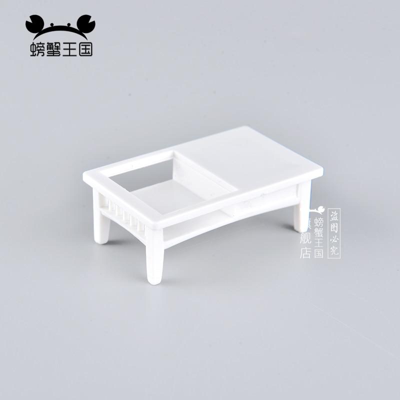 6pcs 1:20 1:25 1:30 Dollhouse Mini Furniture Miniature Doll Accessories Chinese Style Plastic Tea Table