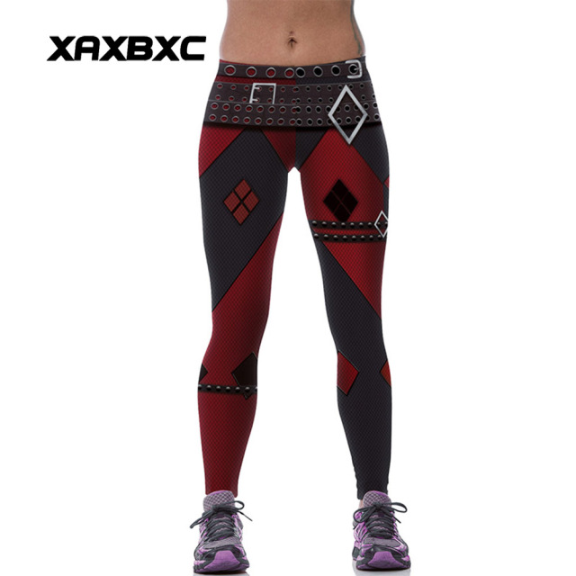 d9f0d4ceeafb2b New 539 Sexy Girl leggins Suicide Squad Harley Quinn Belt Plaid Printed  Polyester Elastic Fitness Workout Women Leggings Pants