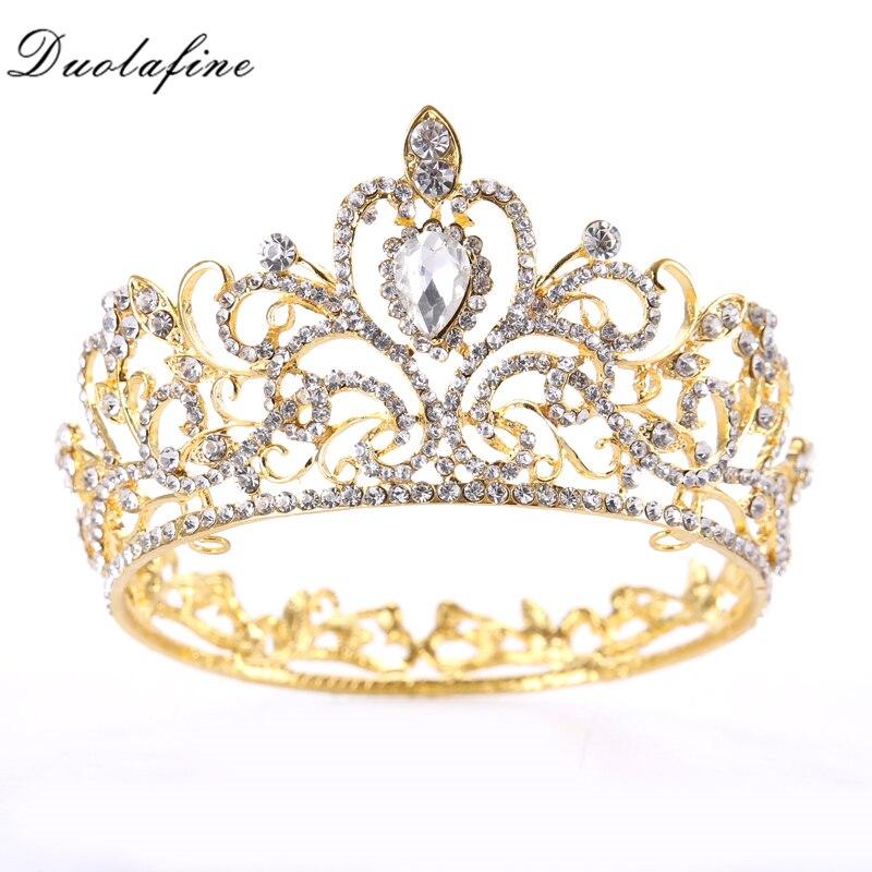 Vintage Gold Round Crystal Tiara Baroque Rhinestones Princess Queen Crown For Bridal Hair ornaments Wedding Hair Accessories