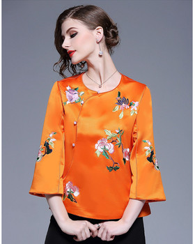 2019 traditional floral embroidery Chinese jacket top for women
