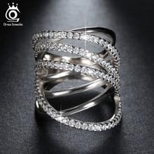 Orsa Jewels Топ Класс микро проложили CZ Кольцо Классический Кольца специальные Дизайн серебро Цвет кольцо с Идеально отполированный для Для женщин or93