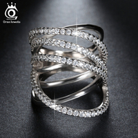 Orsa Top Grade Micro Diamond Paved Classic Bridal Sets Ring With Perfect Polished White Gold Plated