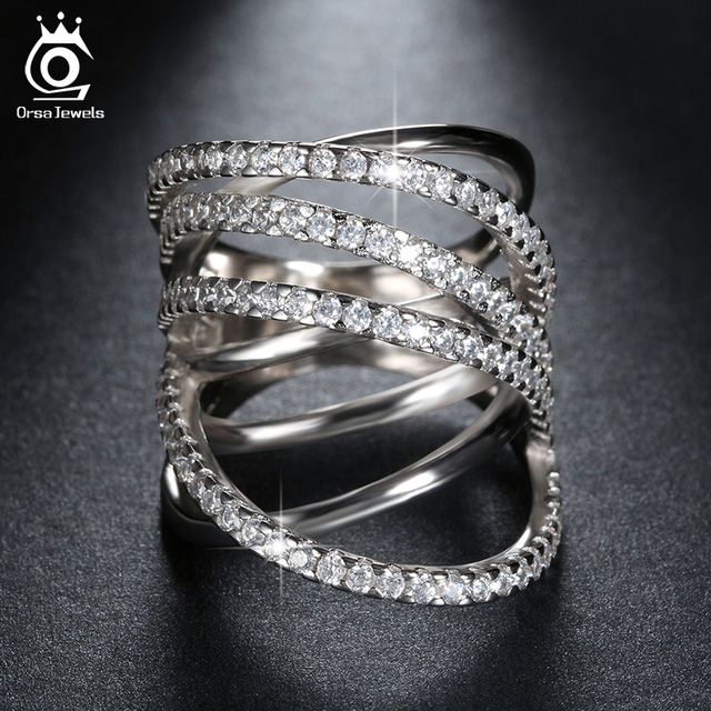 ORSA JEWELS Top Grade Micro Paved CZ Ring Classic Rings Special Design Silver Color Ring with Perfect Polished for Women OR93