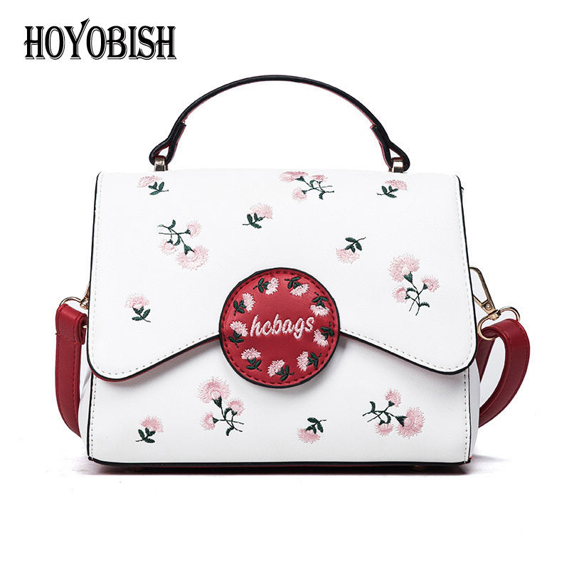 HOYOBISH High Quality Floral Embroidery Female Handbags Shoulder Bag Korean Style Women Messenger Bag Cross body sac femme OH167 2015 special offer bolsas designer handbags high quality korean manufacturers selling new are cross printed student bag cheap