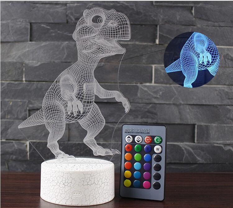 3D Illusion Led Lamp Dinosaur 7 Color Led Bulb Decoration Animal Night Light Touch Sleeping Nightlight Table Lamp Boys Gifts
