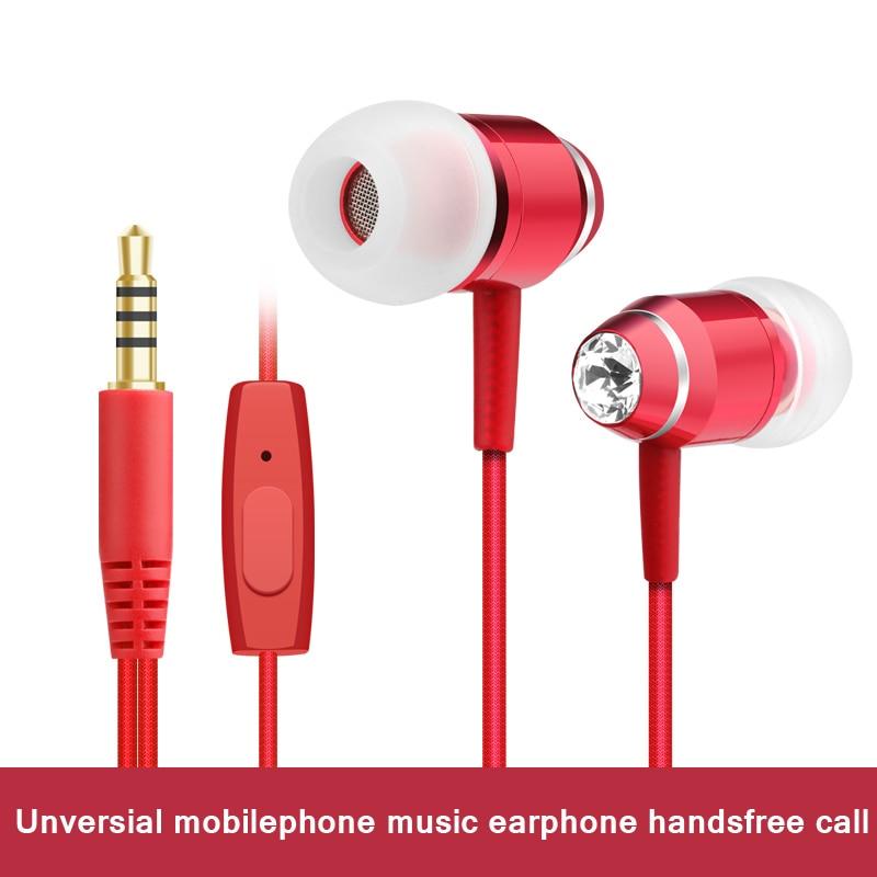 Professional In-Ear Earphone Metal Heavy Bass Sound  Music stereo Earphone with mic speaker wired headset Universal headphone keeka mic 103 stylish universal 3 5mm jack wired in ear headset w microphone red blueish green