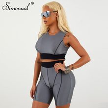 Simenual Fitness Active Wear Neon Matching Sets Women Fashion Casual Patchwork Two Piece Tracksuit Crop Top And Biker Shorts Set цена 2017