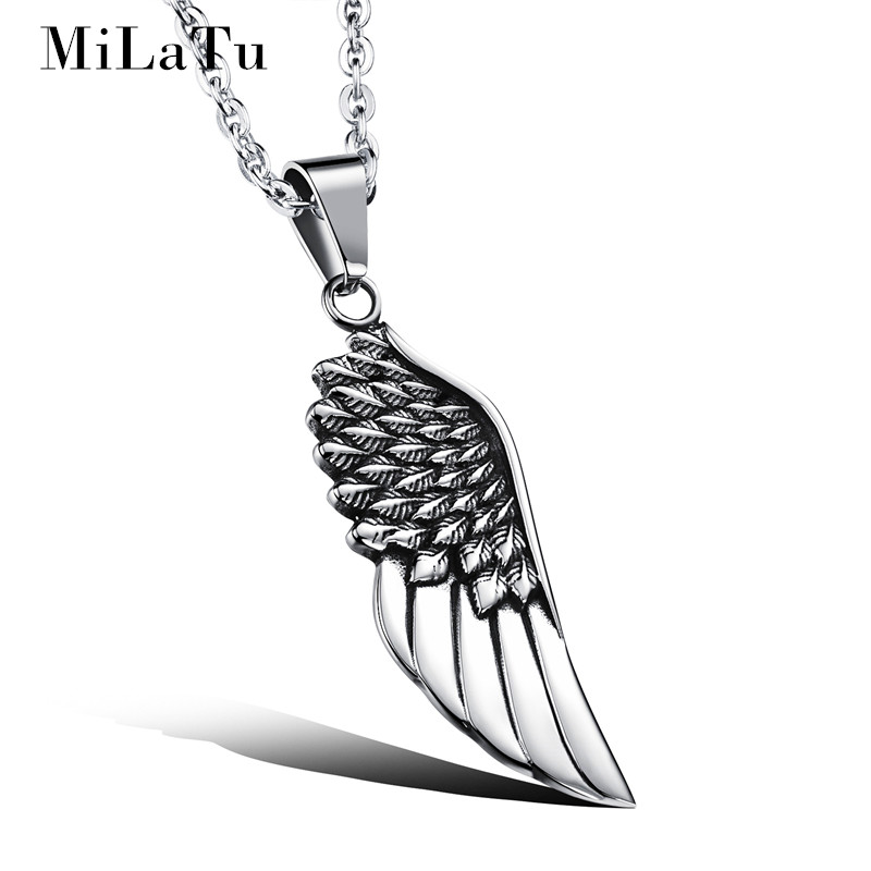 MiLaTu Divine Angel Wing Pendant Necklace For Men Stainless Steel Men statement Necklace Male Jewelry Accessories NE206G