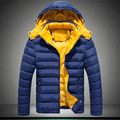 2016 новый мужская Одежда Пальто и Куртки Вниз & Парки зимний утолщение male with a hood ватные теплая куртка тепловой пальто Темно-синий