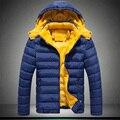 2016 nuevos hombres Ropa Abrigos y Chaquetas Abajo y abrigos Esquimales invierno engrosamiento macho con a capucha wadded chaqueta caliente escudo térmico oscuro azul