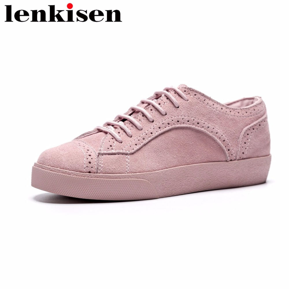 Lenkisen korean girls lace up solid low bottom round toe breathable natural leather beauty women vulcanized