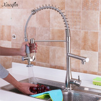 Xueqin 360 Degree Swivel Spring Brushed Nickel Pull Down Spray Kitchen Sink Faucet With Two Hoses