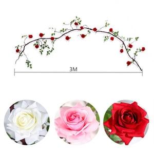 Image 5 - Erxiaobao flores artificiales largas de seda falsa, rosa, flor, enredadera, bastón de ratán, fiesta en casa, boda, pared, puerta, estantería, decoración