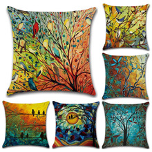 Hundred Bird Forest Oil Painting Printed Linen Hug Throw Pillowcase Emerald Green  Blue Yellow Flower Trees Cushion Cover Set