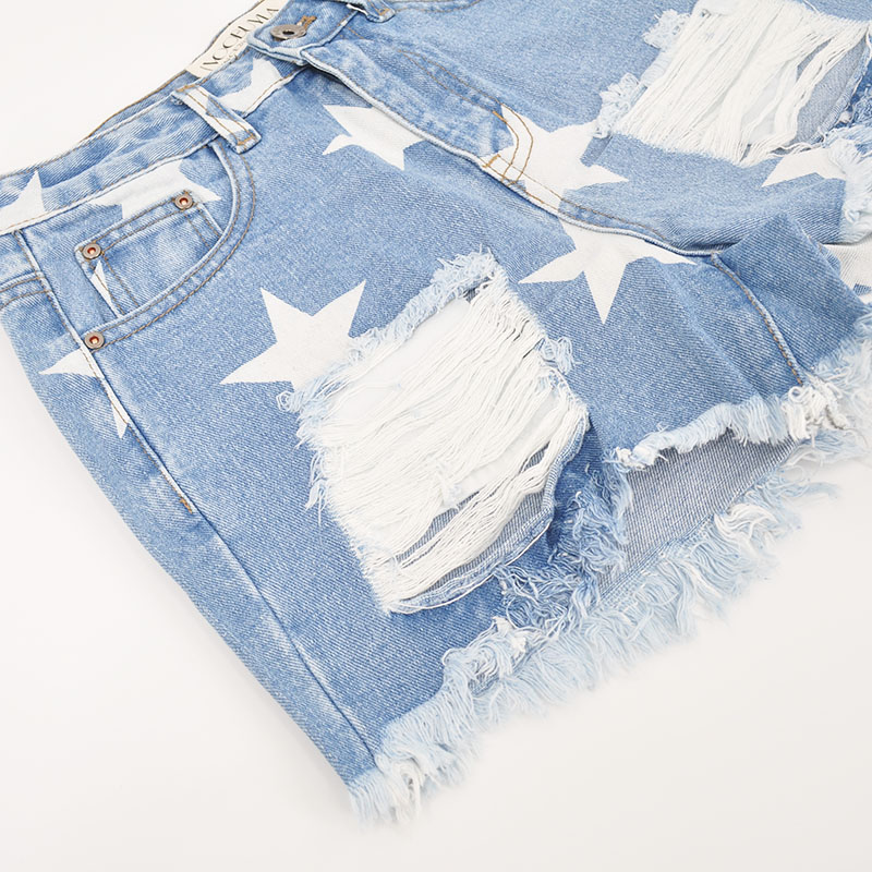 Hole New Stars Destroyed Jeans Print Voobuyla tZqwI58