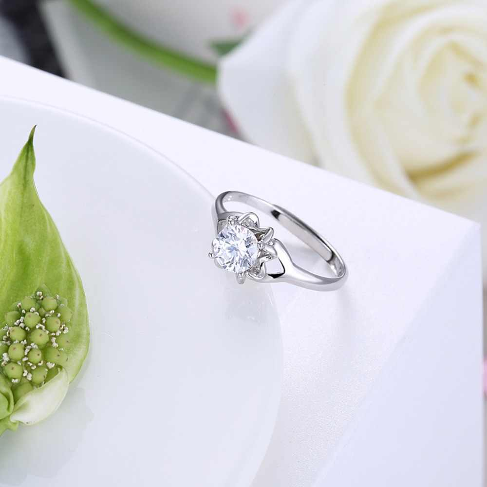 925 Stamped Sterling Silver Ring Set Full African AAA Crystal Heart Stone Rings Romantic Wedding anillos de plata 925 de ley