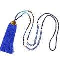 Boêmio borla azul colar pingentes de cristal bijoux mulheres do vintage longo declaração choker colares bib frisado boho retro