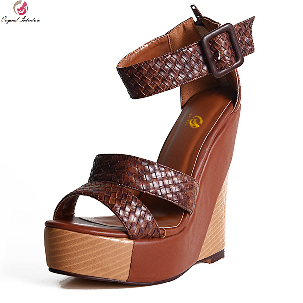 Original Intention New Stylish Women Sandals Platform Open Toe Wedges Sandals Stylish Brown Shoes Woman Plus US Size 4-15 stylish plus size keyhole neckline slit dress for women