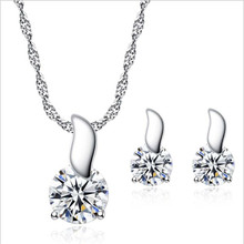 TJP New Fashion 925 Sterling Silver Necklace Sets For Women Party Accessories Shiny Crystal Round Stud Earrings Girl Birthday