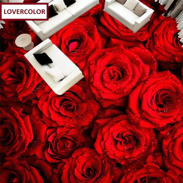 Free Shipping 3D Custom Wall Sticker Romantic Red Roses Bathroom Flooring Painting Photo Wallpaper For Walls
