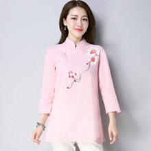 518e15ea19b Autumn New Cotton Hand-painted Tea Service Retro Cheongsam Stand Collar  Plate Buttons Chinese-style Jacket Female