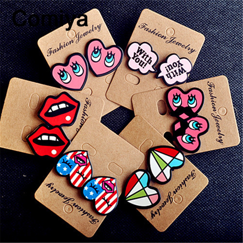 Cute acrylic colors heart big stud earings fashion jewelry zinc alloy women  brinco earring boucles d dc1e445c3355