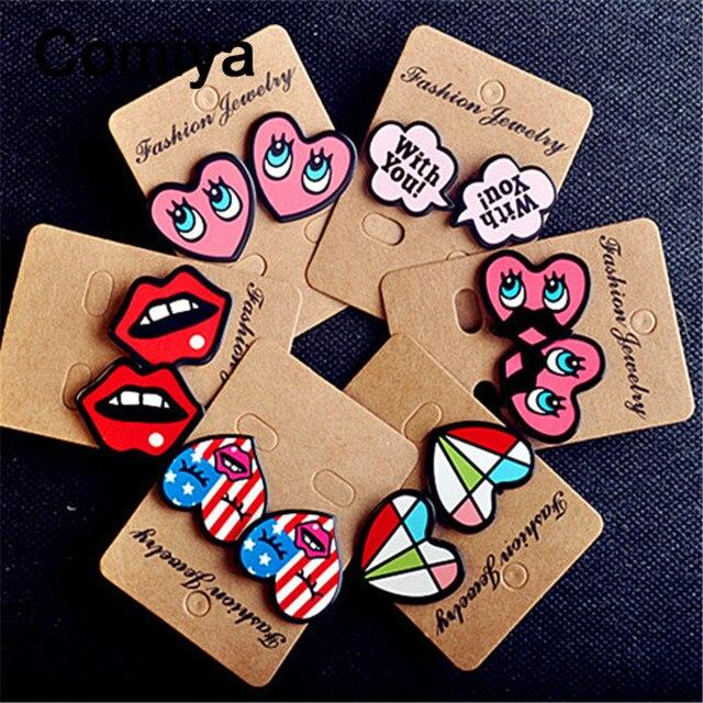 Cute acrylic colors heart big stud earings fashion jewelry zinc alloy women brinco earring boucles d'oreilles bijoux femme cc