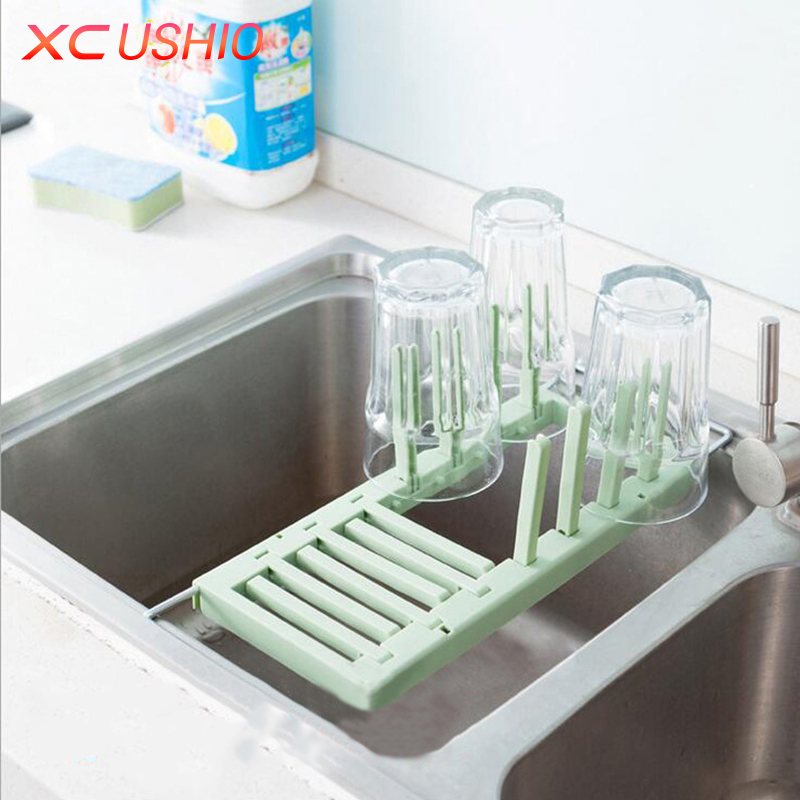 Retractable stainless steel sink draining rack kitchen dish vegetable fruit drying rack feeding - Kitchen sink drying rack ...