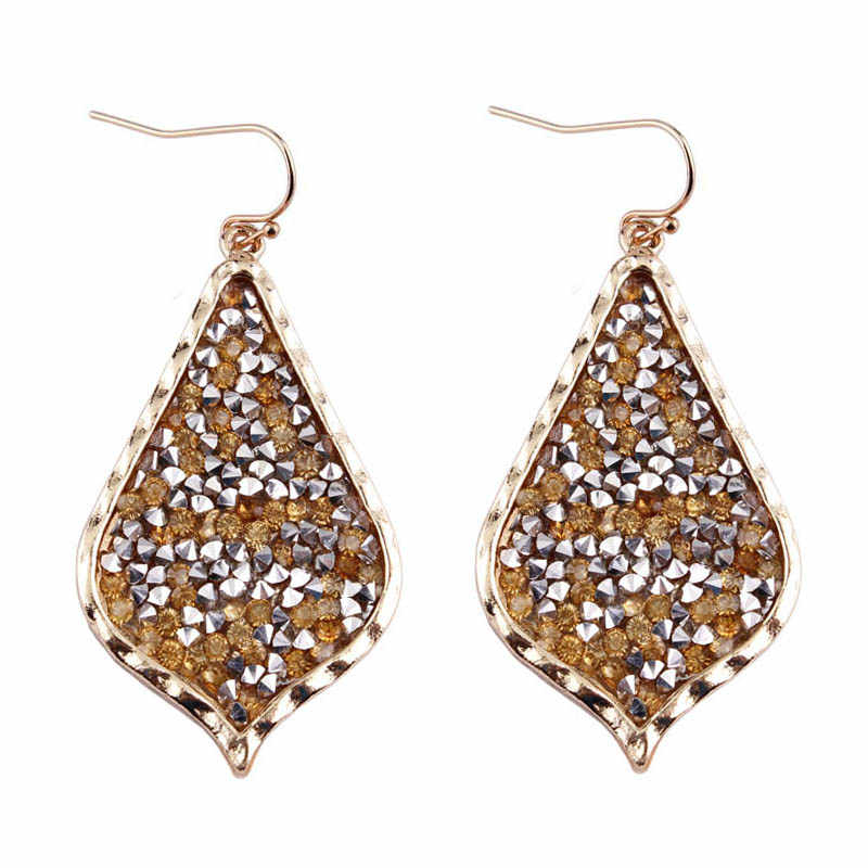 2018 New Gold Teardrop Pave Rhinestone Earrings for Women Fashion Jewelry Bohemian Brand KS Teardrop Black Earrings Wholesale