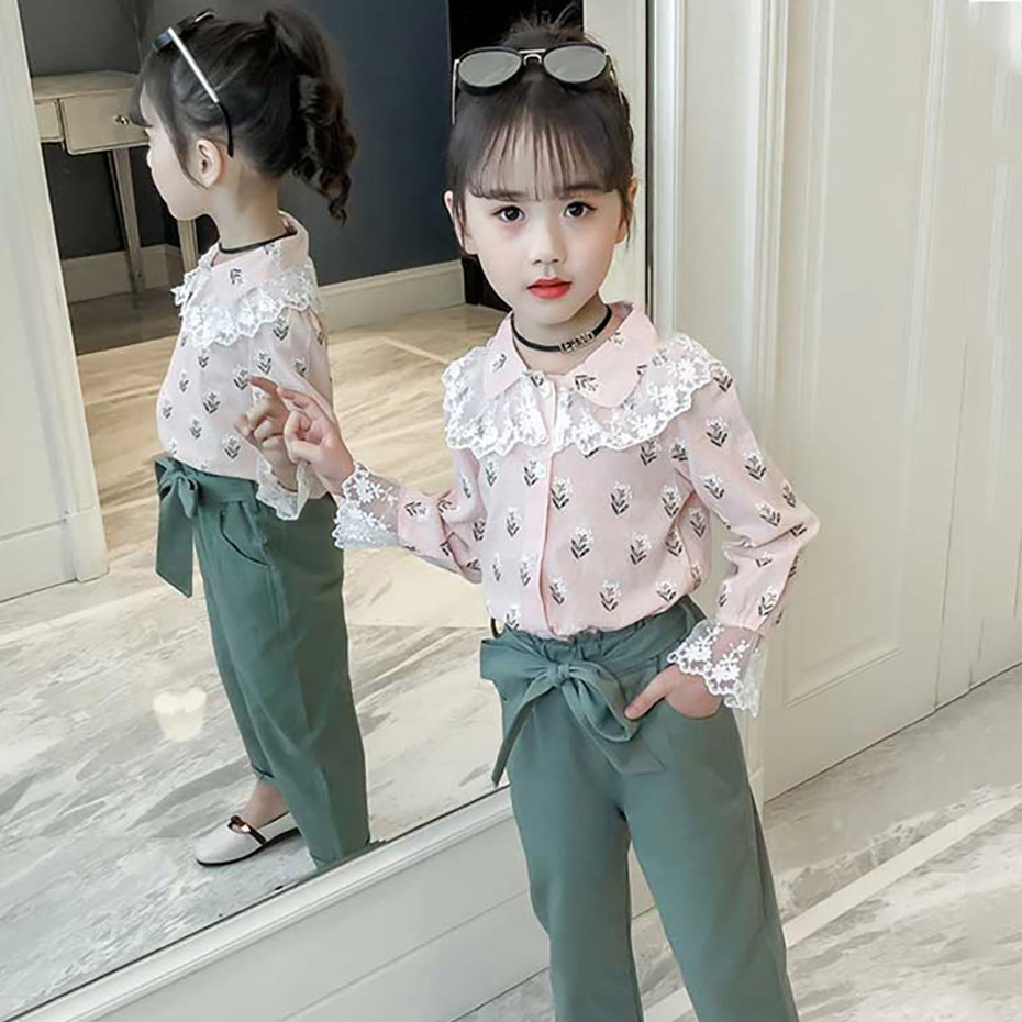 Girls Clothing Sets Kids Tracksuits 2pcs Lace Patchwork Floral Print Shirt +Trousers With Belt Casual Suit Set Children Clothes