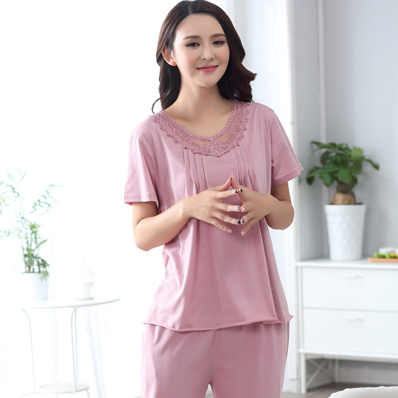 New 2017 spring summer Womens Pajama Sets O-Neck Short Sleeve Women Sleepwear Pajamas Girls home wear clothing for Woman