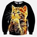 2016 новинка женщины / мужчины 3D майка с длинным рукавом свободного покроя Crewneck T - рубашка люминесцентные животных кошка пуловеры смешные 3D ти топы
